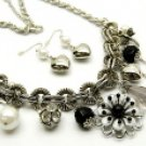 Flirty Black and Silver Metal Necklace and Earring Set