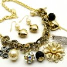 Flirty Gold and Pearl Metal Necklace and Earring Set