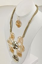 Flirty Gold Tone Necklace and Earring Set