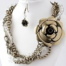 Flirty Bronze Tone Floral Necklace and Earring Set