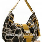 Fun Giraffe Print Handbag w/Sepia accents