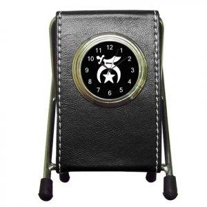 New Shriner Black Leather Pen Holder Desk Clock Office Decor 14348856