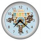 Baby Blue MONKEY Print Wall Clock Nursery Home Decor Gift Time  17759090.