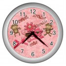 Baby Pink MONKEY Print Wall Clock Nursery Home Decor Gift Time  17759333.