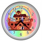 Rainbow NOAH'S ARK Baby Print Wall Clock Nursery Home Decor Gift Time 17760244
