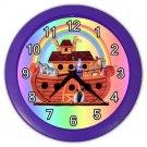 Rainbow NOAH'S ARK Purple Frame Baby Print Wall Clock Nursery Home Decor Gift Time 18690592