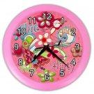 Pink GIRLS FLOWER Print Wall Clock Nursery Home Decor Gift Time 18898156