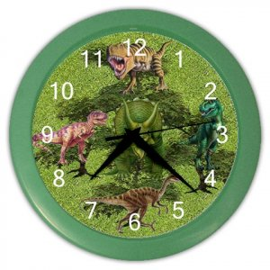 DINOSAURS Print Wall Clock Boy's Room, Home Decor Gift Time 18914156