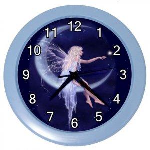 BLUE FAIRY Print Wall Clock, Nursery, Home Decor Gift Time 18964097