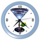 BLUE MARTINI GLASS DESIGN Wall Clock, Home Decor, Bar Clock, Kitchen Clock, Gift Time 20571744