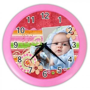 CUSTOM Baby Photo Pink Design Wall Clock Home Decor Office Gift Time 19377833