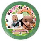 CUSTOM Baby Photo Green frame Design Wall Clock Home Decor Office Gift Time 19377840