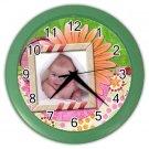 Baby CUSTOM Photo Green frame Design Wall Clock Home Decor Office Gift Time 19377848