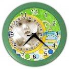 CUSTOM Photo Baby Green frame Design Wall Clock Home Decor Office Gift Time 19378678