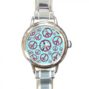 PEACE SIGNS Italian Charm Wrist Watch Round Jewelry 12628398