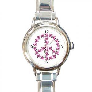 FLOWER PEACE SIGN Italian Charm Wrist Watch Round Jewelry 12709325