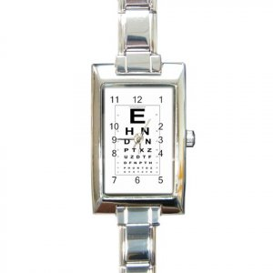 EYE CHART Italian Charm Wrist Watch Rectangular Jewelry 12628326