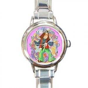RETRO HIPPIE Italian Charm Wrist Watch Round Jewelry 16972247