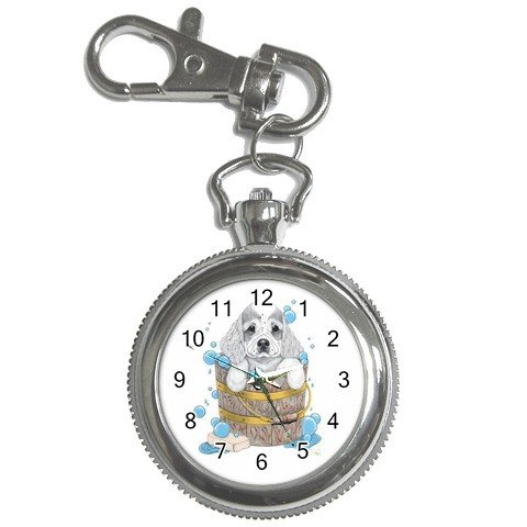 Dog Grooming Pocket Watch Clock Face Key Chain 14430596