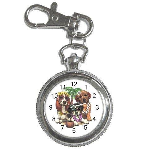 Tropical Dog cartoon Pocket Watch Clock Face Key Chain 14430609