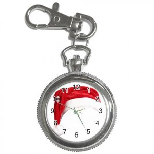 Holiday Santa Hat Pocket Watch Clock Face Key Chain 17113015