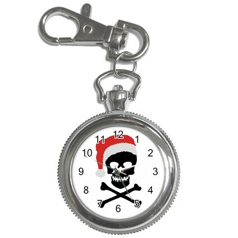Holiday Santa Skull and Crossbones Pocket Watch Clock Face Key Chain 17113224
