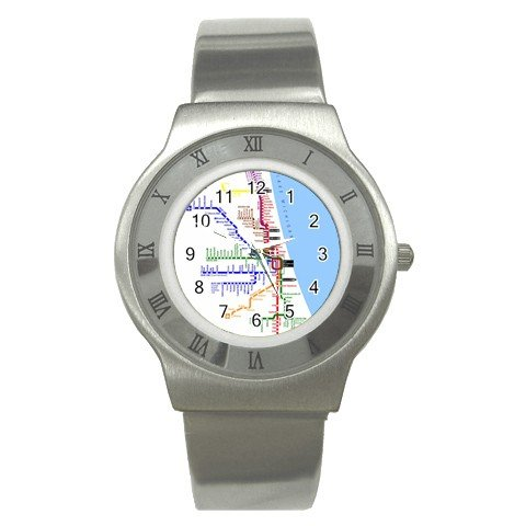 CHICAGO SUBWAY SYSTEM Men's Stainless Steel Watch 14537831