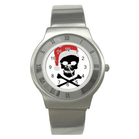 SANTA SKULL AND CROSSBONES Christmas Men's Stainless Steel Watch 17113232