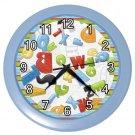 BLUE ALPHABET Kids Design Wall Clock, Home Decor, Office Gift Time 22646503