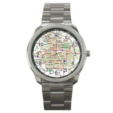 DENVER COLORADO MAP Watch Men's Sports Metal Stainless Steel 14597648
