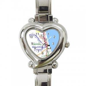 CHICAGO SUBWAY MAP Wrist Watch Italian Charm Heart Shape Jewelry 14537828