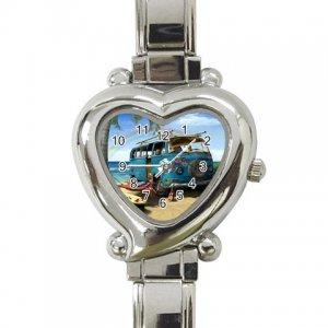 VW BUS VOLKSWAGEN Wrist Watch Italian Charm Heart Shape Jewelry 16972342