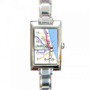 CHICAGO SUBWAY MAP Italian Charm Wrist Watch Rectangular Jewelry 14537812
