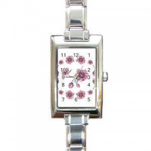 FLOWERS Italian Charm Wrist Watch Rectangular Jewelry 17387454