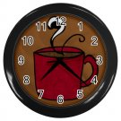 Coffee Cup Black Plastic Frame Wall Clock Home Decor Office Gift Time 26618963