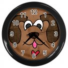 PUPPY DOG Black Plastic Frame Wall Clock Home Decor Office Gift Time 26619036
