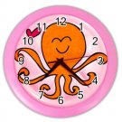 PINK OCTOPUS Design Wall Clock, Home Decor, Office Gift Time 26619130