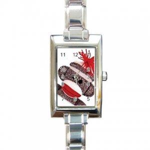 SOCK MONKEY Italian Charm Wrist Watch Rectangular Jewelry 25916317