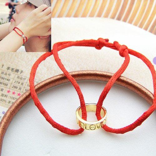Black String Bracelet with Love Ring