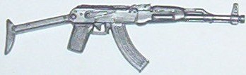 Rambo, silver AK-47 from accessory pack