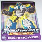 Transformers Energon Barricade tech card