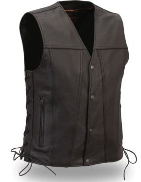 First Classic Mens 1 Panel Back SideLace Club Vest FIM618-CFD, BLACK, S-2XL