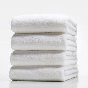 SET OF 2 NEW WHITE HOSPITALITY 100% COTTON THICK HOTEL QUALITY BATH TOWEL