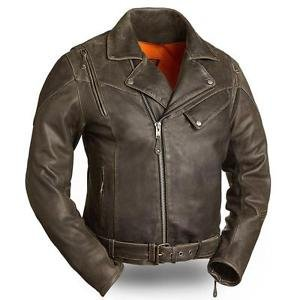 """FMC Mens Leather Motorcycle Jacket """"Anthracite"""" FIM210CTZ"""