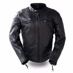 """FMC Mens Leather Motorcycle Scooter Jacket FIM288CHRZ """"TOP PERFORMER"""""""
