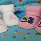 2 PAIRS NIKE GIRL PINK JUMPMAN 23 BABY CRIB BOOTIES NIB