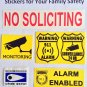 3X Warning Stickers Security ALARM and video SURVEILLANCE home and office burglar alarm system
