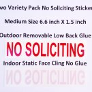 Premium Pretty 2X NO SOLICITING sign stickers, Removable Glue + Static Cling! transparent