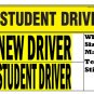 2 NEW DRIVER + Student Driver bumper stickers for novice drivers, big text and removable back glue