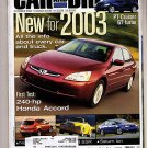Car and Driver Magazine October 2002 New Cars 2003